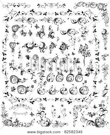 Collection of black and white vintage floral design