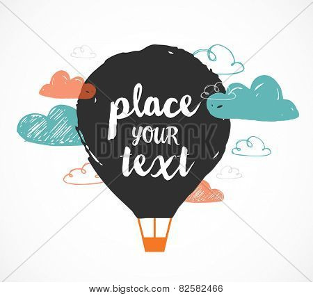hot air balloon in the sky - vector hand drawing illustration and background