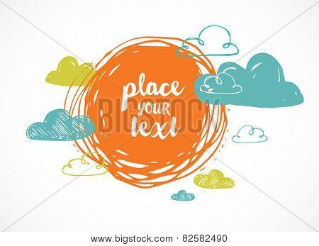 Vector hand drawing sun with clouds cute background