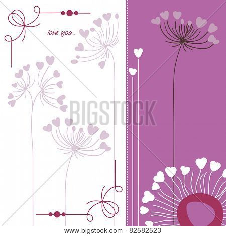 Floral background in purple and white