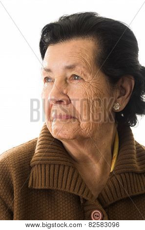 portrait of grandmother looking nostalgic