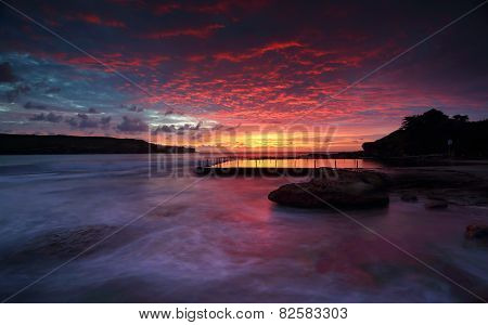 Sensational  Sunrise At Malabar Rock Pool Sydney