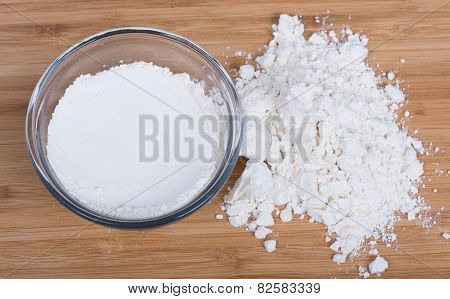 Flour in a clear bowl