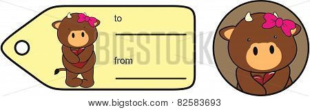 sweet girl bull cartoon giftcard
