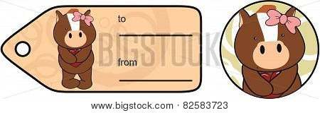 sweet girl horse cartoon giftcard