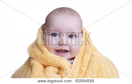 Smiling baby boy after shower