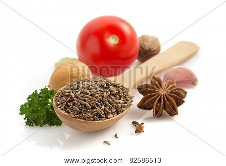 cumin seeds isolated on white background