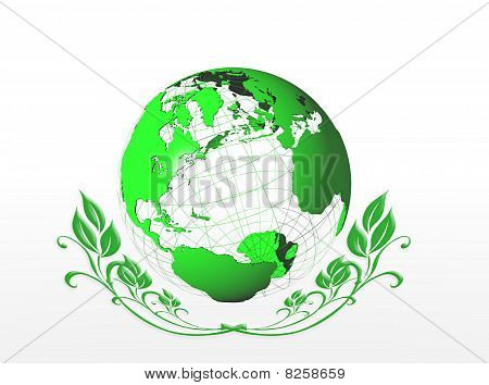 Green earth globe icon