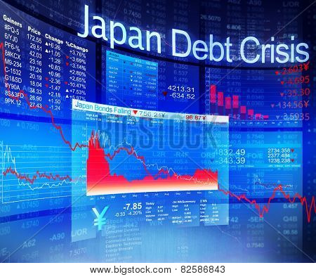 Japan Debt Crisis Economic Stock Market Banking Concept