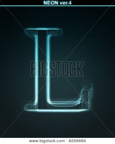 Glowing Neon Font. Shiny Letter L