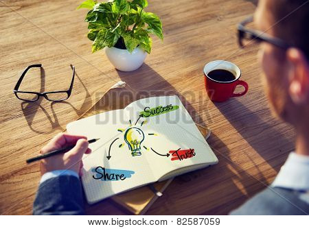 Man Writing Sharing Trust Success Teamwork Business Plan