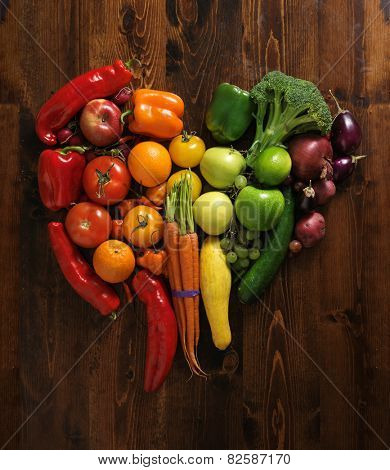 vegetables on cutting board shaped like heart