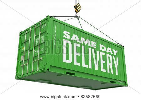 Same Day Delivery - Green Hanging Cargo Container.