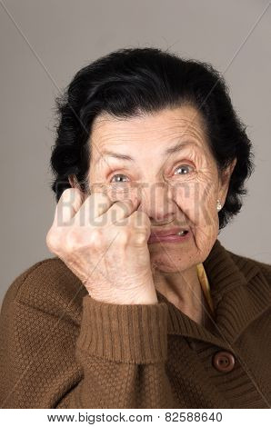 portrait of angry old woman grandmother