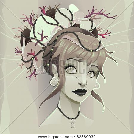 Portrait of a lady. Vector illustration.