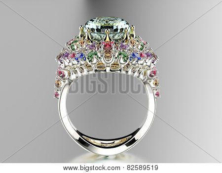 Golden Ring with differet color gemstone. Jewelry background