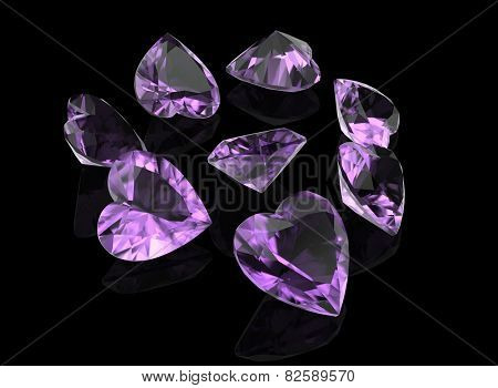 Background with set of many different gemstone