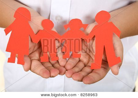 Paper People Holding Hands - Family Concept