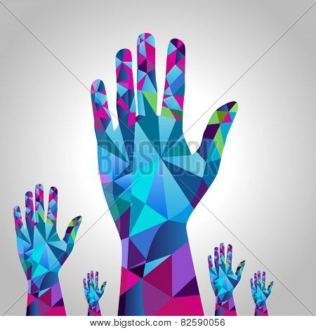 An image of raised hands - polygon style.