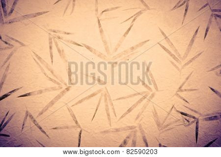 Bamboo Vintage Mulberry Paper With Flower Texture Background