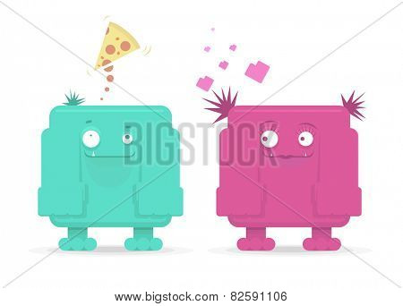 Vector monster couple in love, funny cartoon for St. Valentines Day