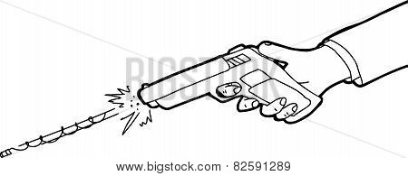 Outlined Cartoon Of Gun Firing