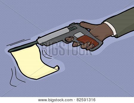 Gun Firing Blank Flag