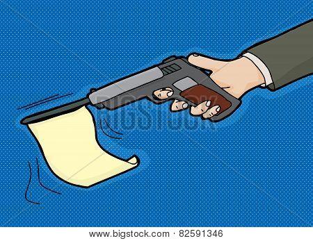 Flag In Gun Cartoon