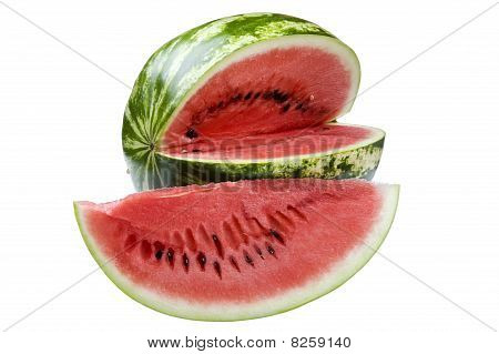 Watermelon On White Close Up