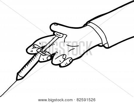 Outline Of Hand Holding Needle
