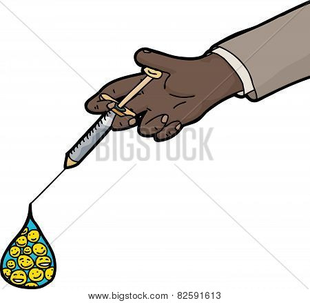 Isolated Syringe With Smiling Faces