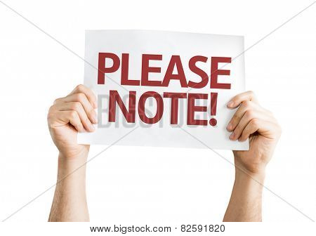 Please Note card isolated on white background