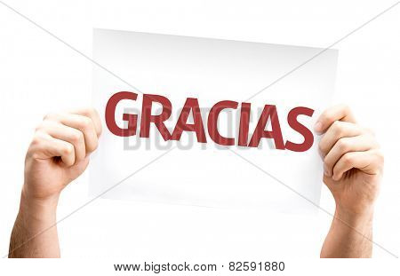 Thank You (in Spanish) card isolated on white background