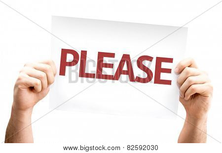 Please card isolated on white background