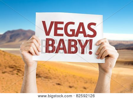 Vegas, Baby! card with desert background