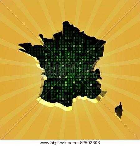 France sunburst map with hex code illustration