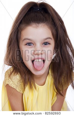 Crazy little girl, studio on white background