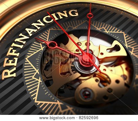 Refinancing on Black-Golden Watch Face.