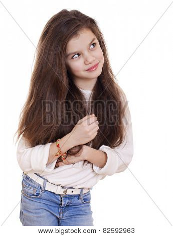 Cute girl deep in thought looking away, isolated on white background