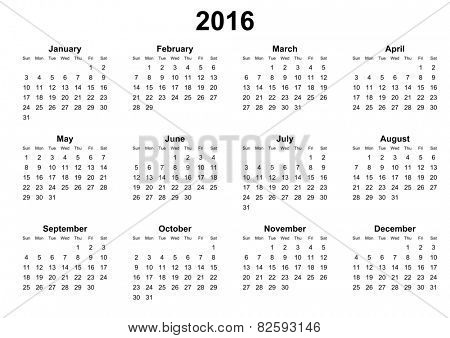 simple calendar 2016 sunday first