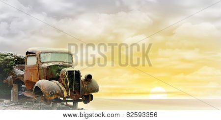An Old Truck with Misty Sunrise, Sunset. - A manipulated photograph with some illustration elements.