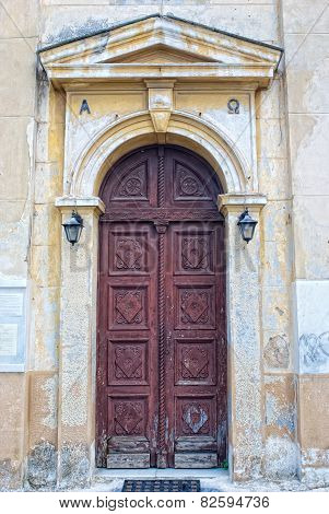 Plaka, Athens, Greece - September,7 2014. The Door To The Ancient Greek Temple. Plaka Is The Old His
