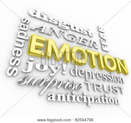 Emotion 3d words in a collage including anger, disgust, sadness, depression, sadness, anticipation, fear and joy