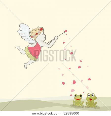 Happy Valentine's Day celebration with flying cupid dropping love on cute frog couple.