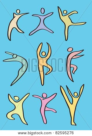 Colorful Stylized Dance Figures Vector Icon Set
