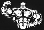 picture of muscle builder  - Bodybuilder posing showing big muscles - JPG
