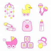 foto of baby duck  - Cute baby girl icon  - JPG