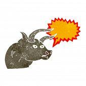 image of bull head  - cartoon angry bull head with speech bubble - JPG