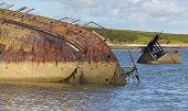 stock photo of shipwreck  - Shipwreck in Churchill barriers - JPG