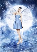 pic of blue moon  - Beautiful young woman as blue fairy  - JPG